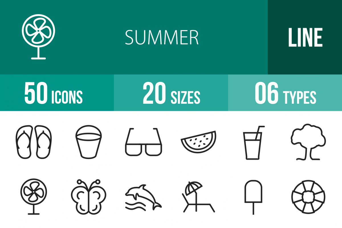 50 Summer Line Icons example image 1