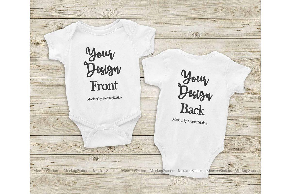 Front & Back White Baby Bodysuit Mockup, Toddler Mock Up example image 1