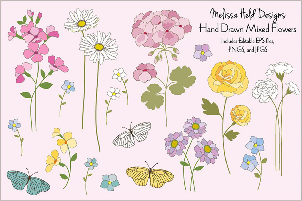 Hand Drawn Flowers & Butterflies example image 1