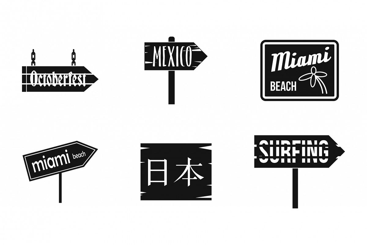 Welcome board icon set, simple style example image 1