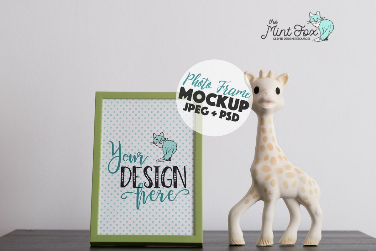 Children Photo Frame Mockup with Giraffe example image 1