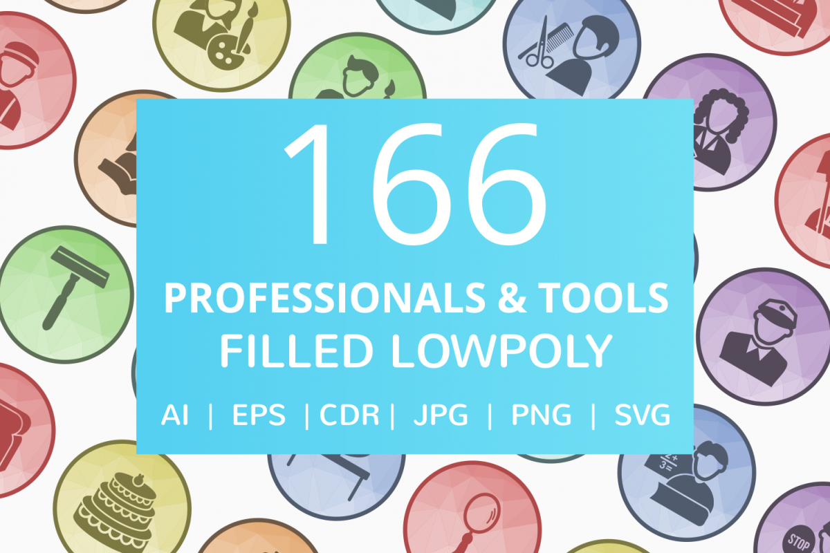 166 Professionals & their tools Filled Low Poly Icons example image 1