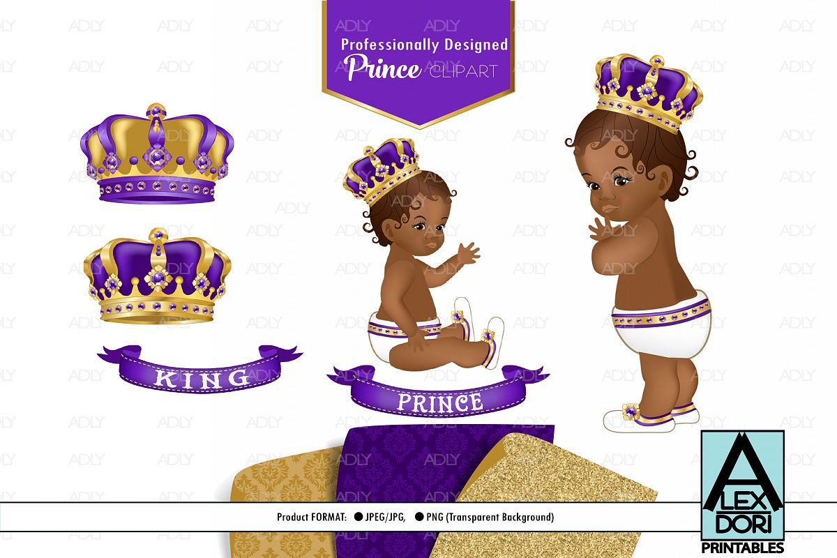 Purple Gold Baby Boy Prince, SET OF PNG, Royal Clipart example image 1