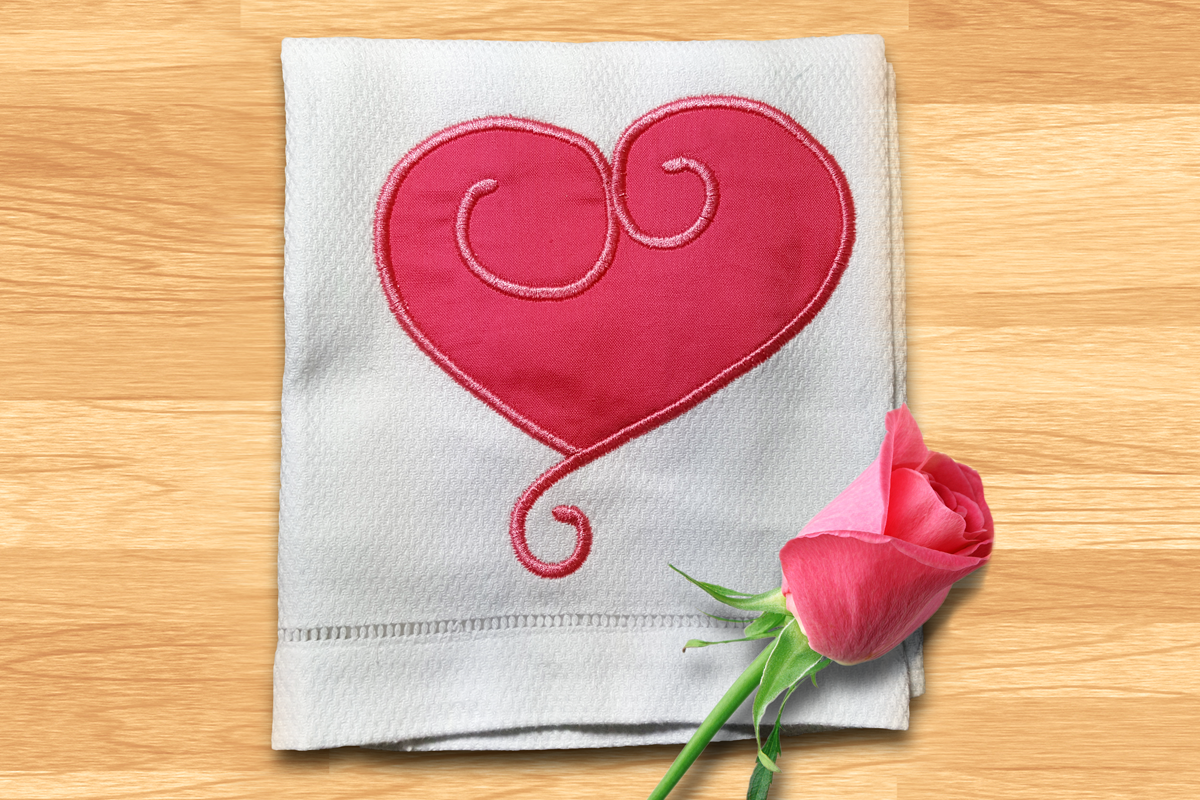 Swirly valentine s day heart applique embroidery design