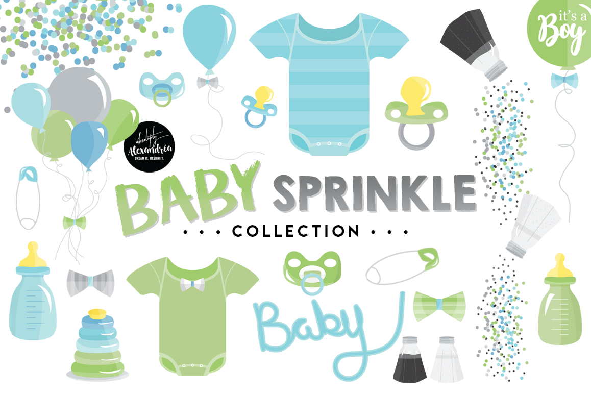 Baby Sprinkle Clipart Graphics & Digital Paper Patterns Bundle example image 1