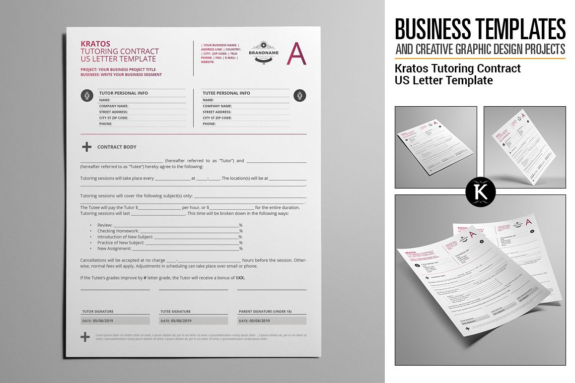 Kratos Tutoring Contract US Letter Temp Design Bundles - Tutoring contract template