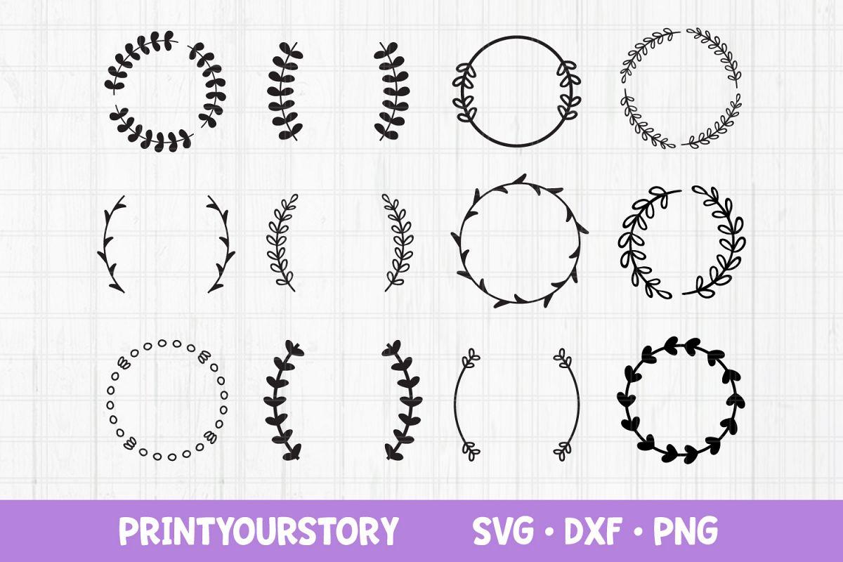 Monogram SVG files for Cricut, Wreath SVG Frame SVG Bundle example image 1