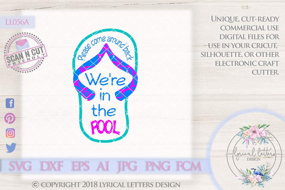 0e54eb70fe964 We re At The Pool Flip Flop Cutting File LL056 A SVG DXF FCM EPS