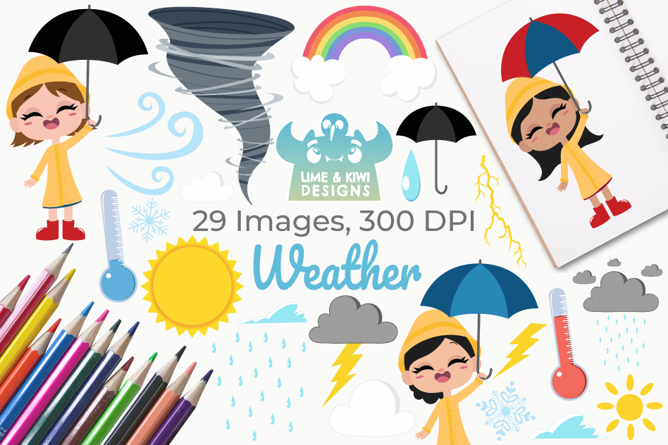 Weather Clipart, Instant Download Vector Art, Commercial Use example image 1