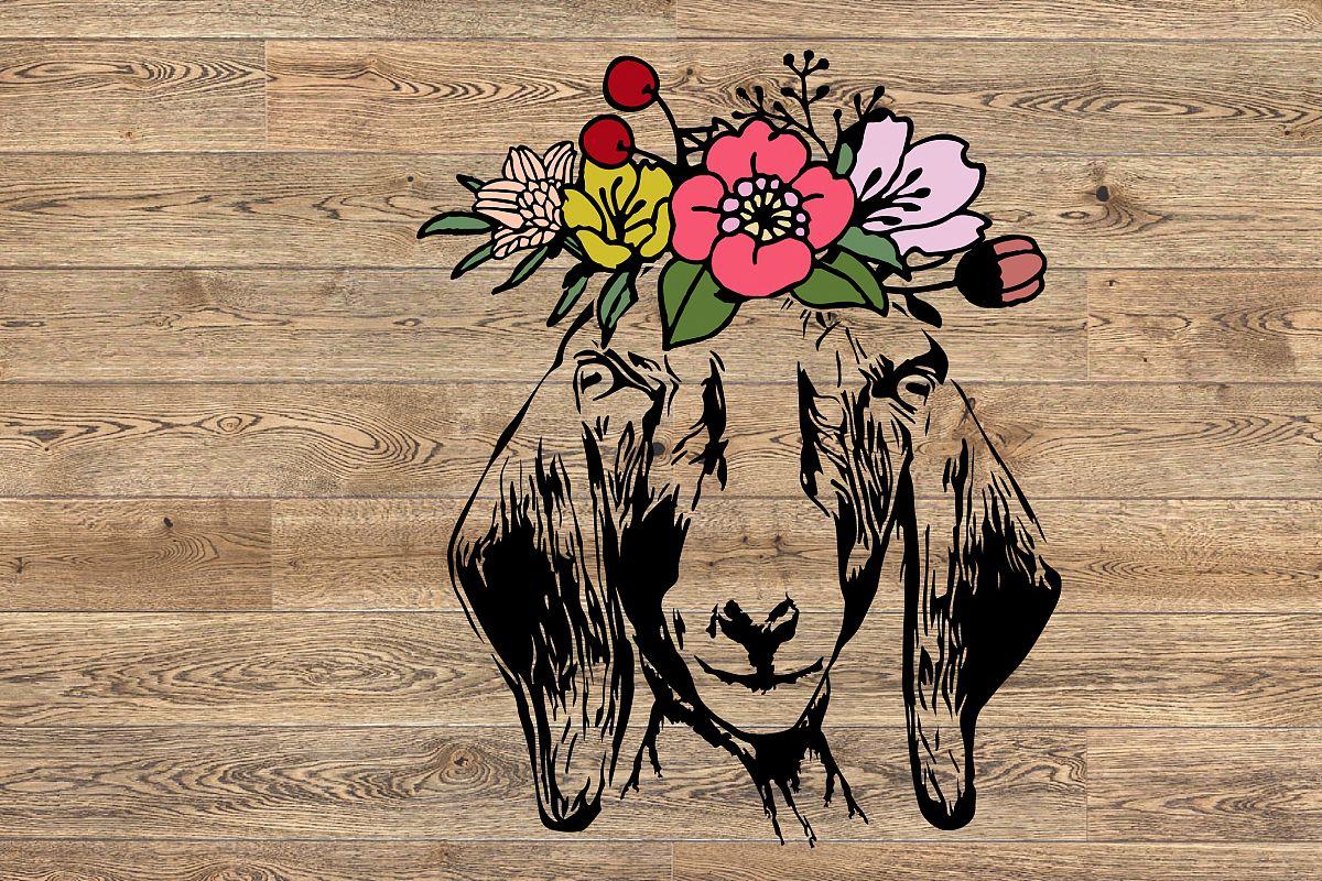 Goat Head whit flower SVG, feet goats Farm Milk 1317S example image 1