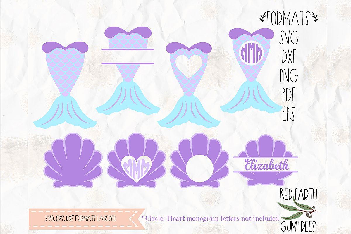 Mermaid monogram frame, Mermaid clam SVG, DXF, PNG, EPS, PDF