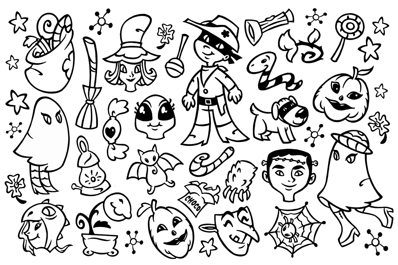 30 Halloween Doodles Clipart example image 1