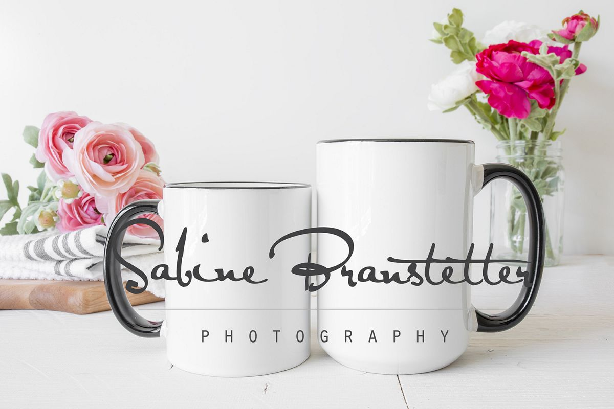 Styled Stock Photography Small And Large Coffee Mugs Mockup example image 1