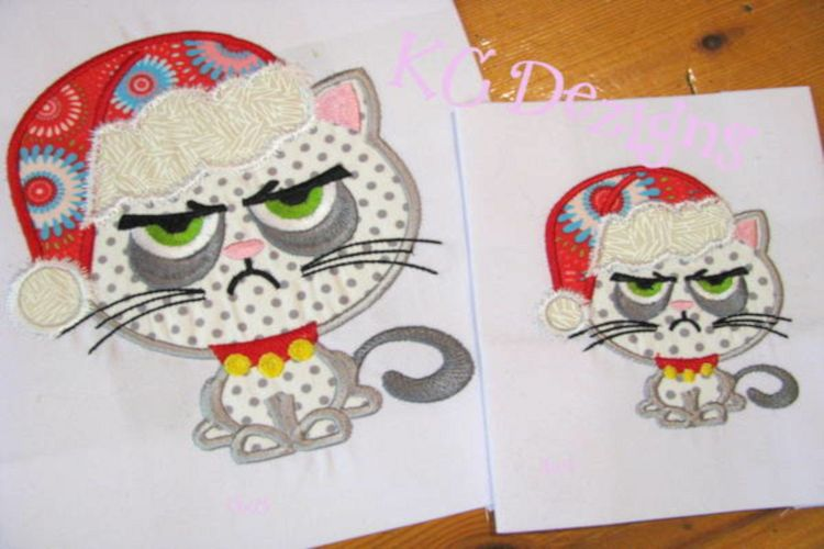 Grumpy Christmas Cat Machine Applique Embroidery Design example image 1