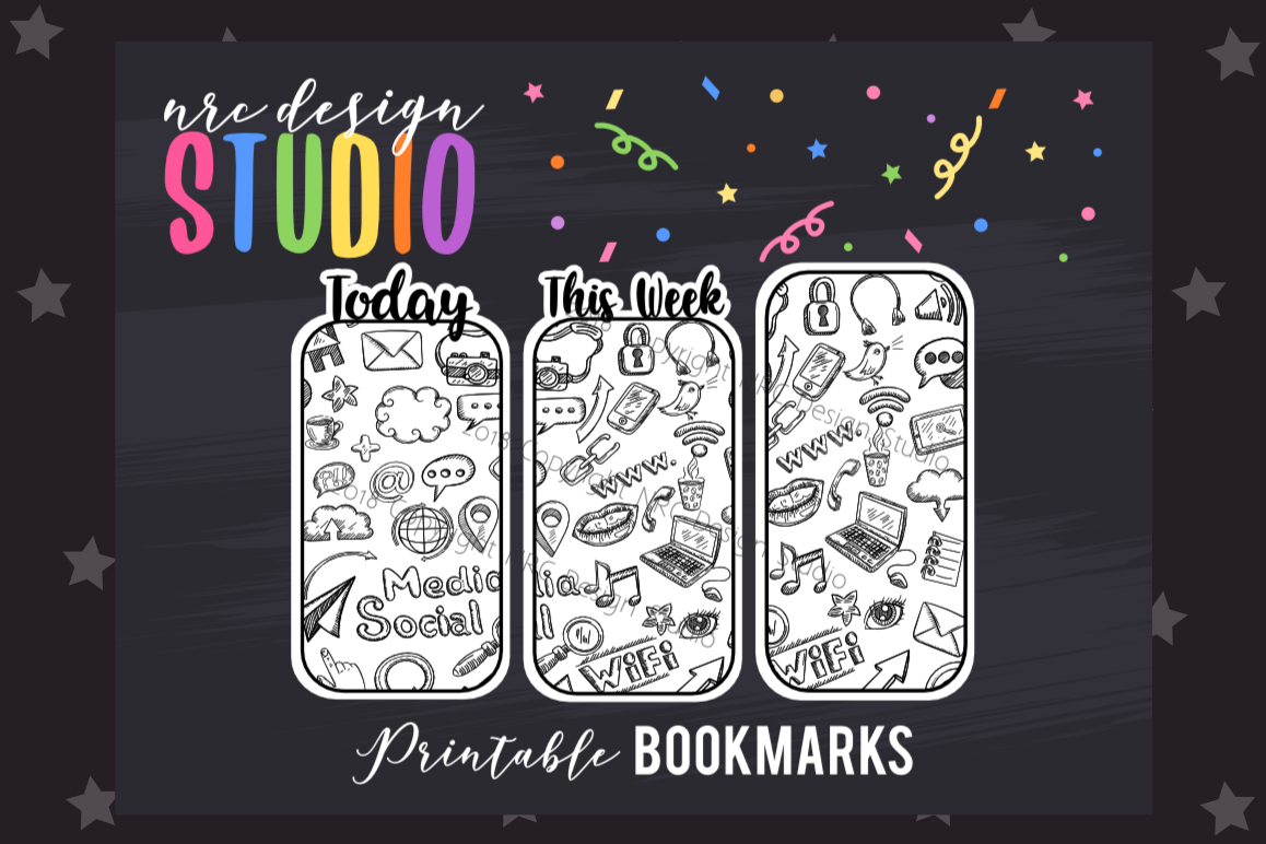 Black and White Doodles Bookmark, Planner Printable example image 1