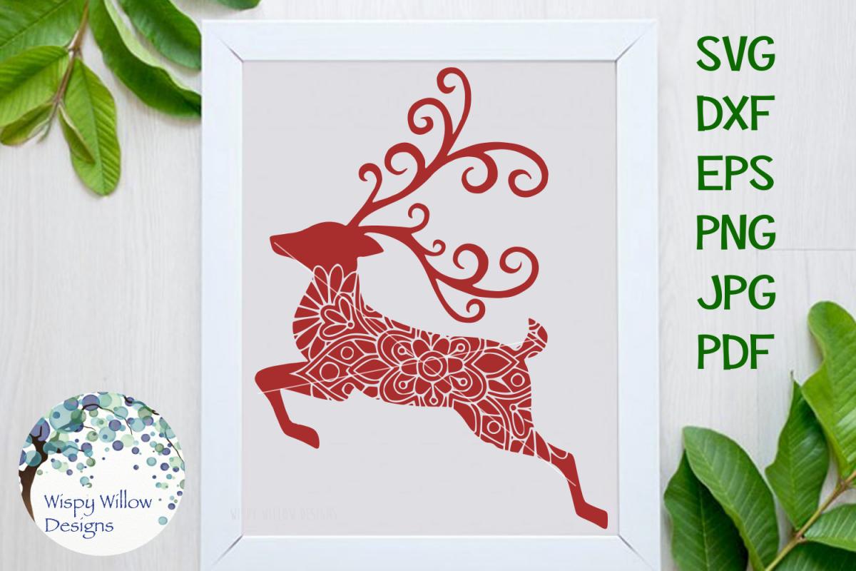Reindeer Mandala, Christmas SVG Cut File example image 1