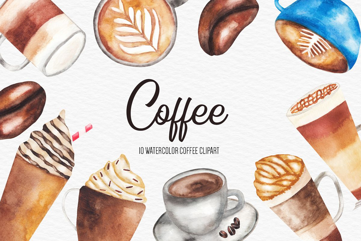 Watercolor Coffee Illustration, Coffee Clipart example image 1