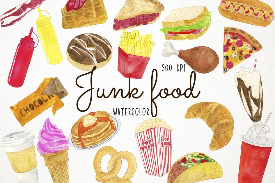 Watercolor Junk Food Clipart, Fast Food Clipart, Pizza example image 1