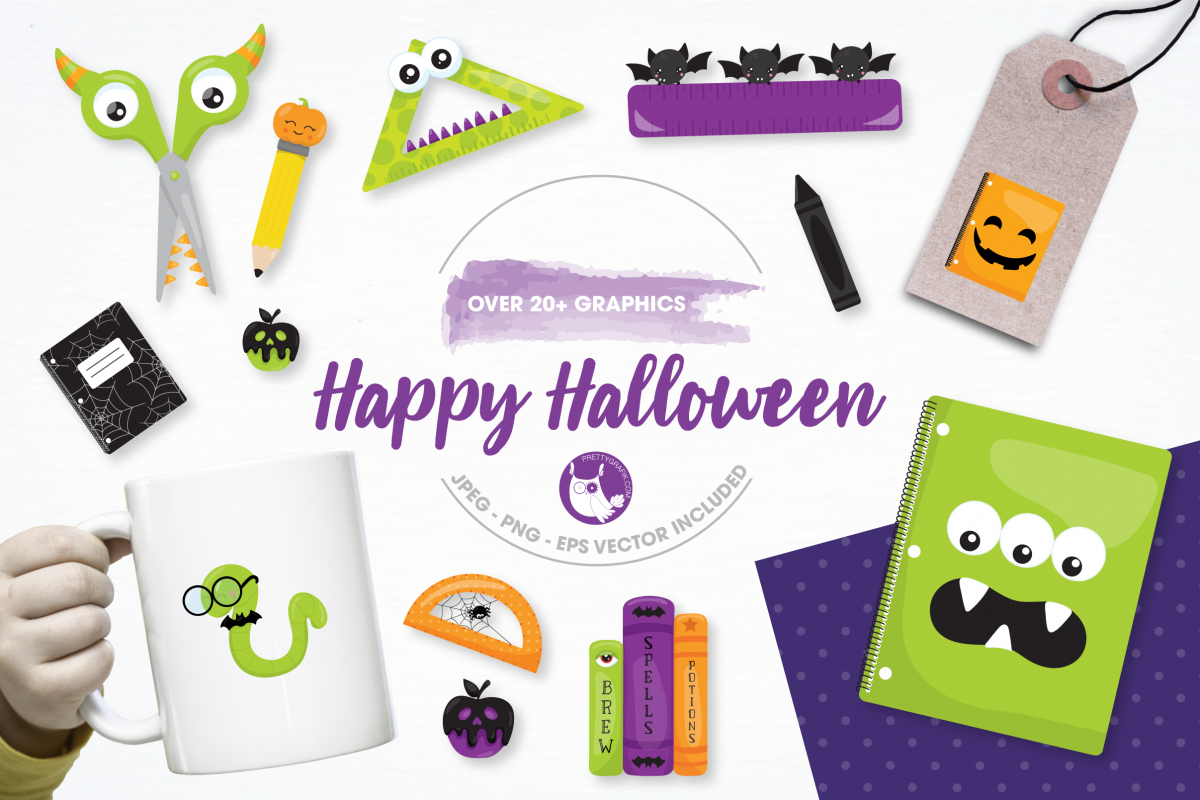 happy halloween graphics and illustrations example image 1