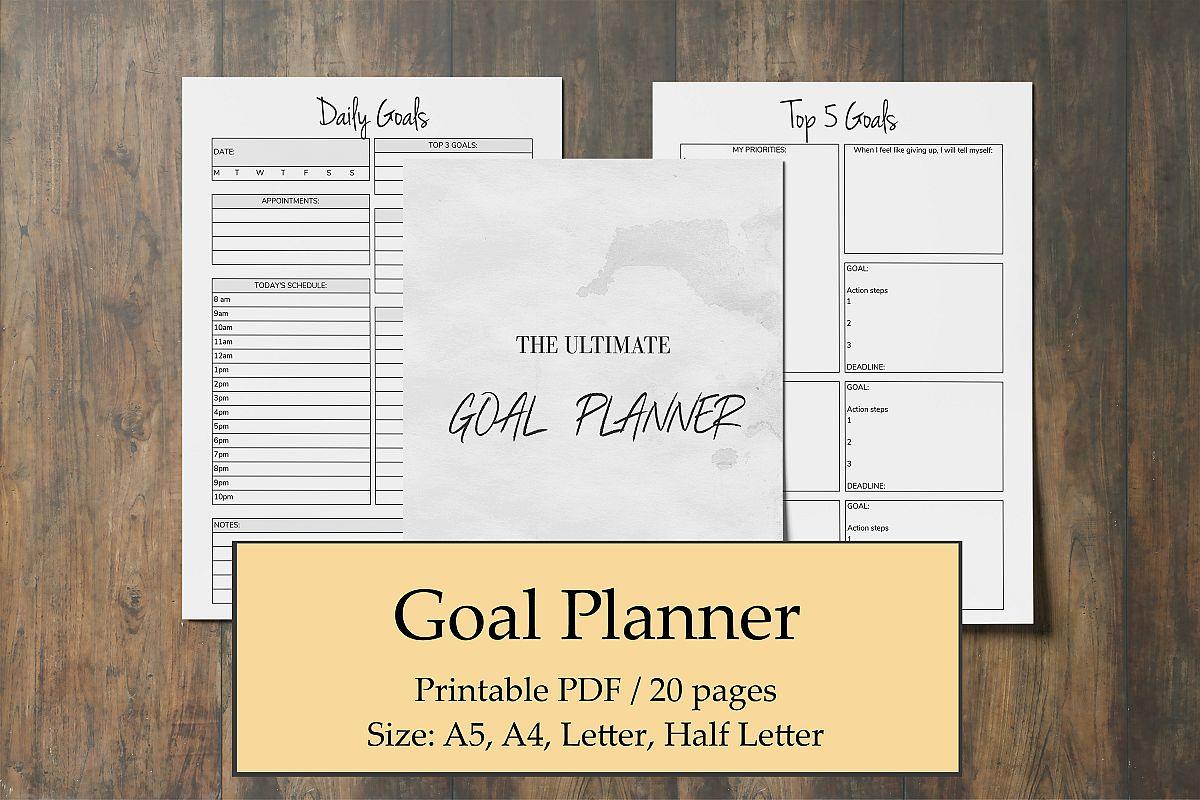 Goal Planner Printable 2019, Goal Worksheet, Planner Insert example image 1