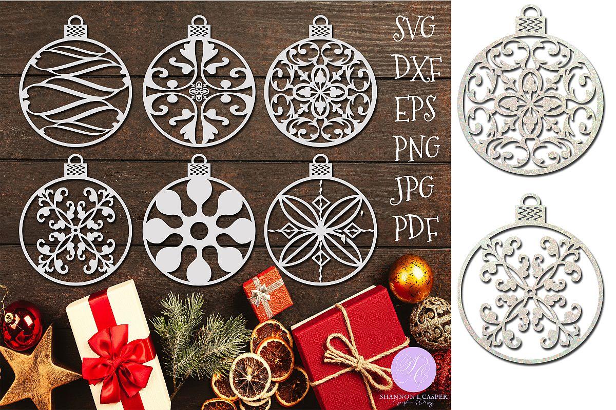 Christmas Round Ornament Bundle SVG and Printable example image 1