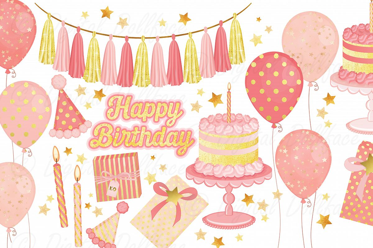 Pink Birthday Clipart Set example image 1