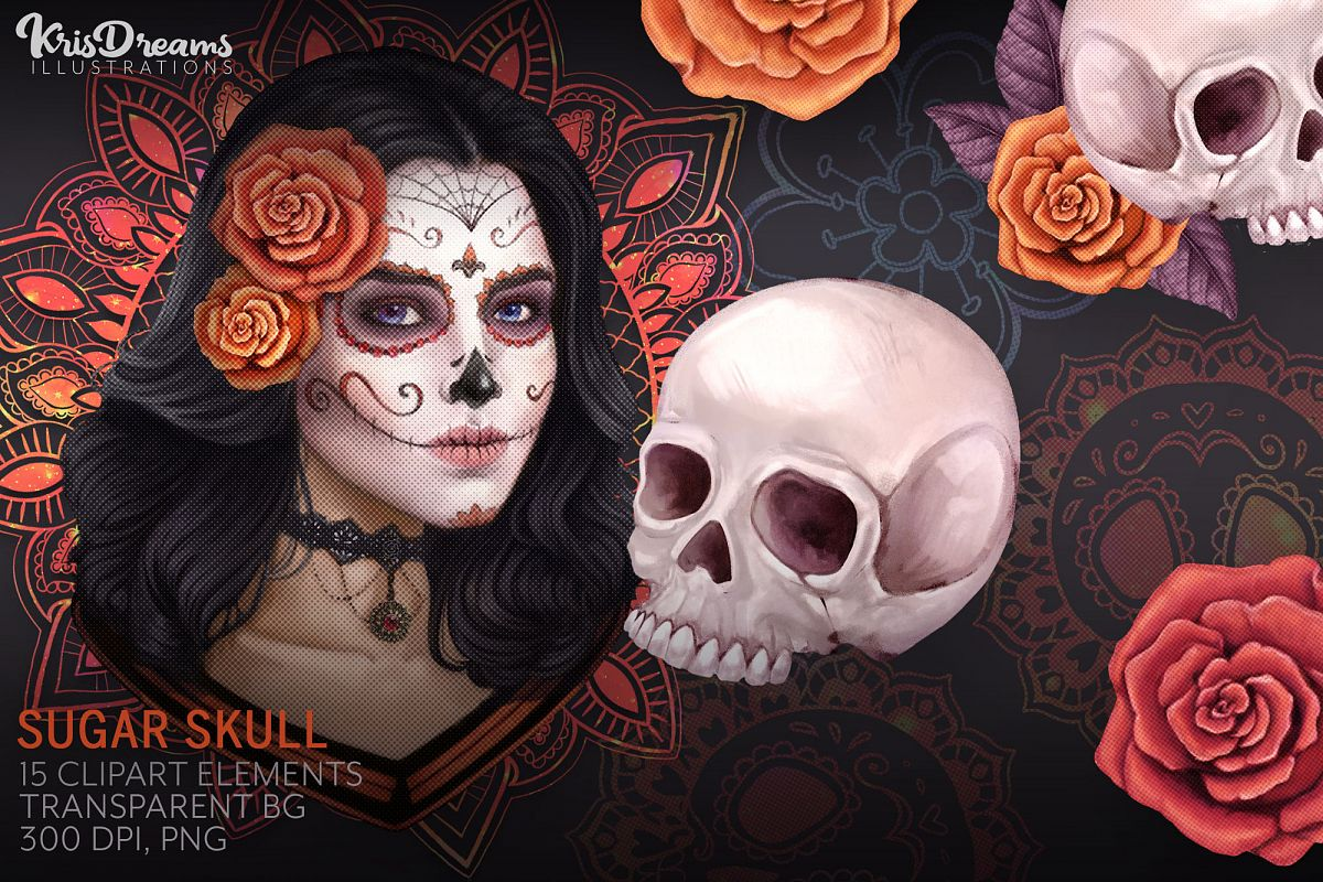 Sugar Skull Clipart, Mexican Lace Clipart, Day of the Dead example image 1
