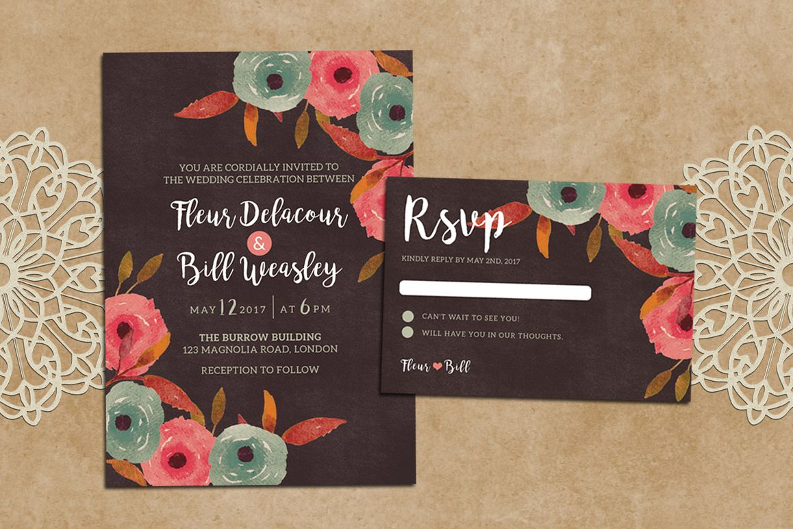 Rustic Wedding Invitation + RSVP example image 1