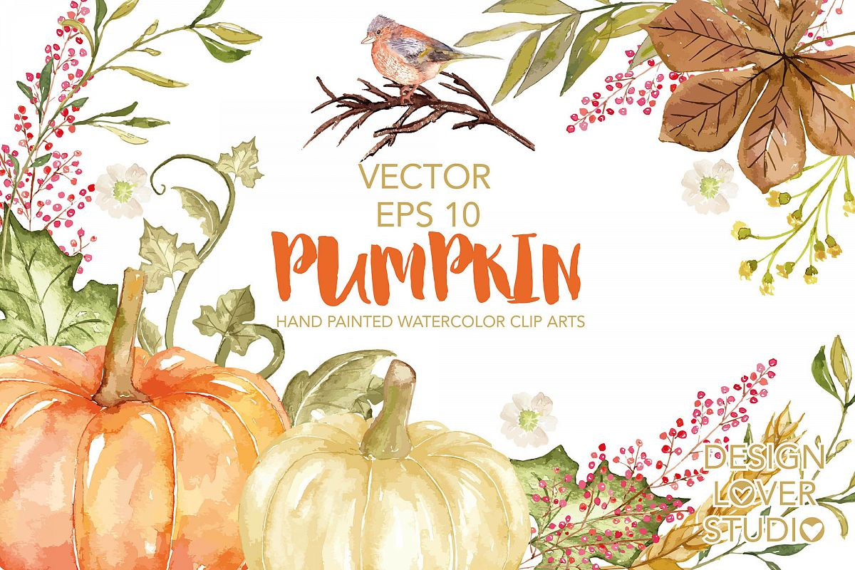 Vector watercolor pumpkin clip arts example image 1