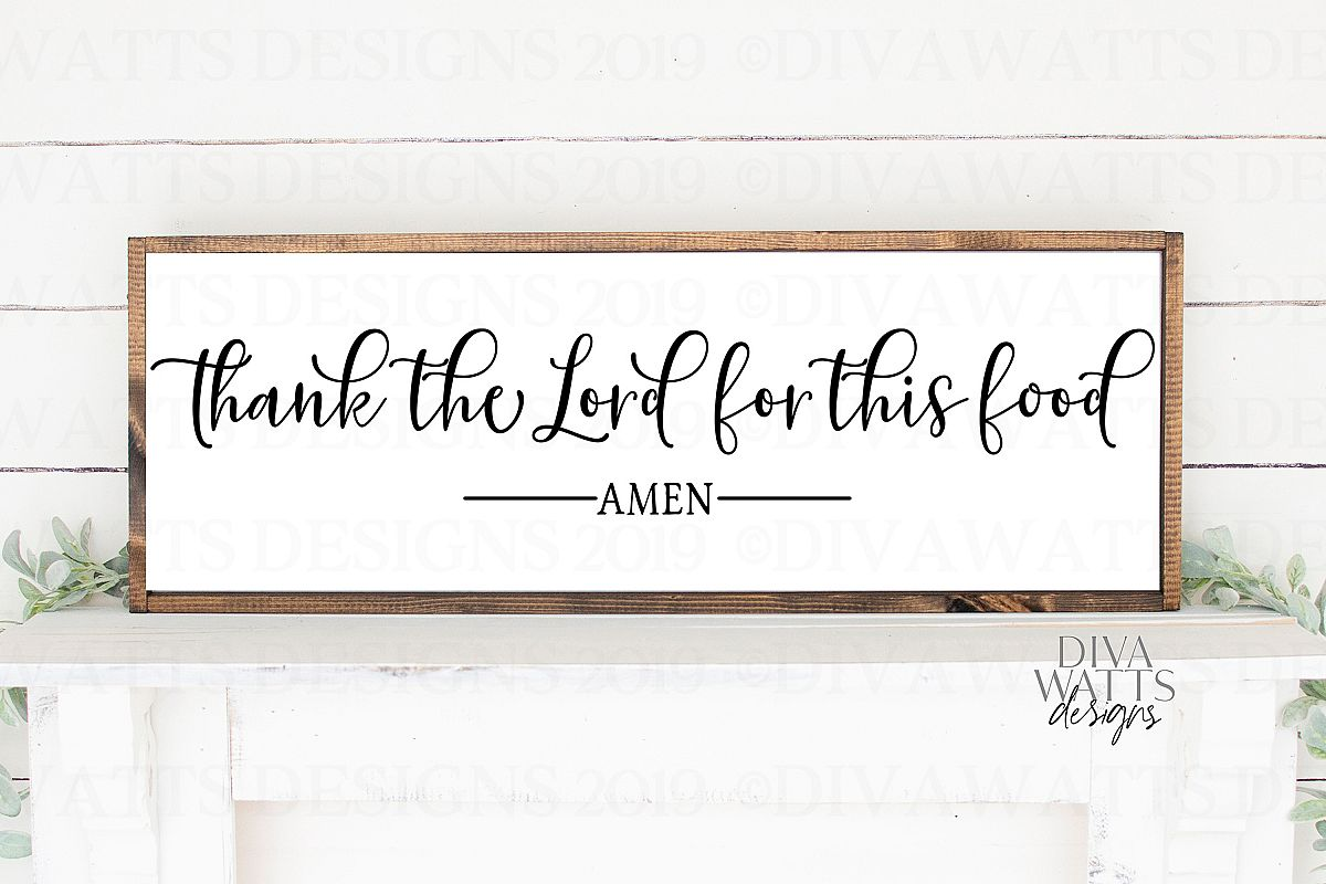 Thank The Lord For This Food Amen - Farmhouse Sign SVG example image 1