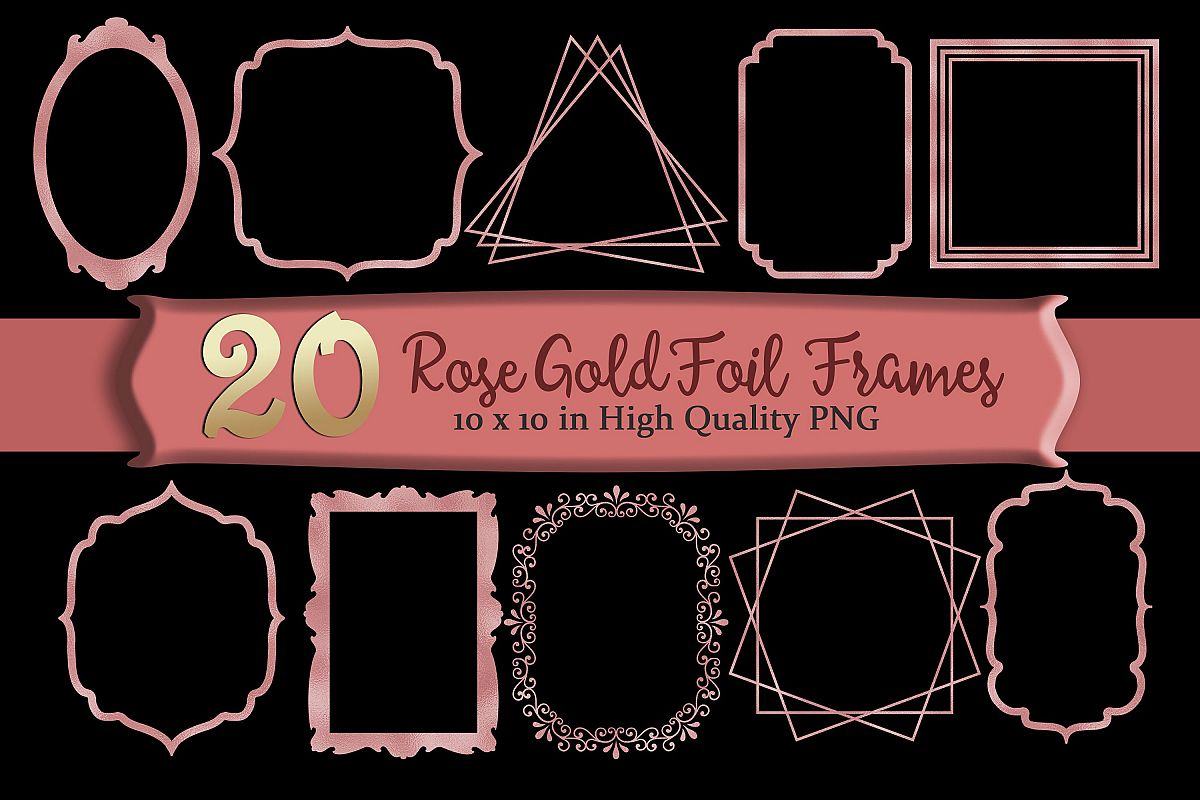Rose Gold Frames Clipart Set of 20 example image 1