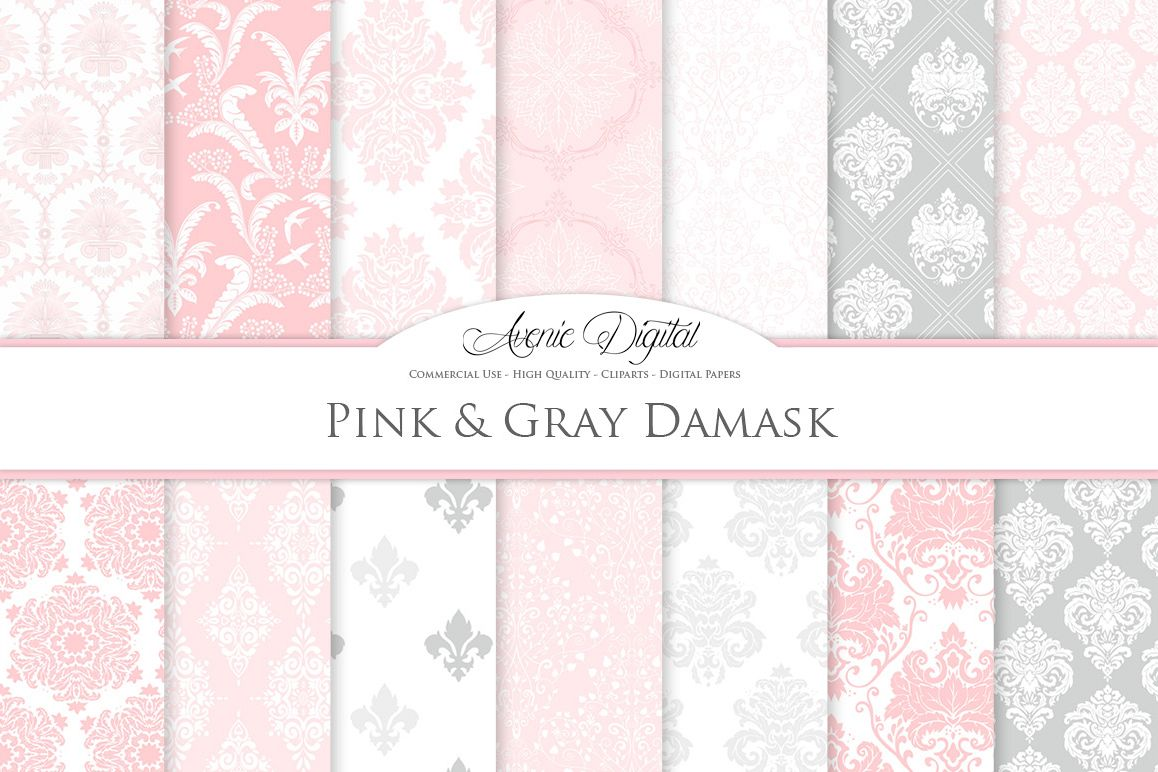 28 Pink and Gray Damask Patterns - Seamless Digital Papers Bundle example image 1
