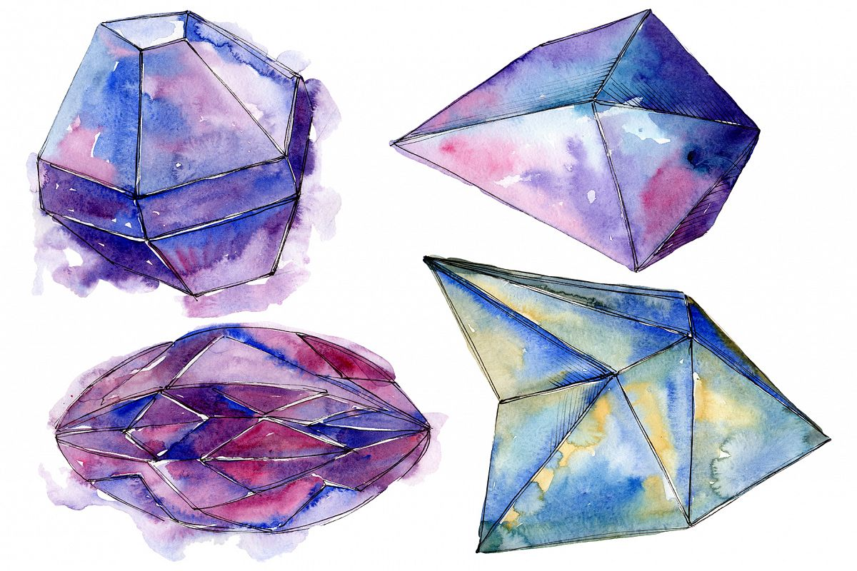 Violet crystals Watercolor png example image 1