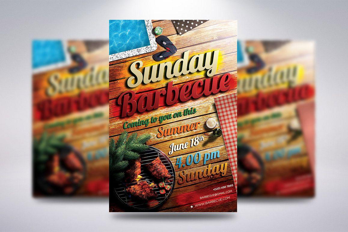 sunday barbecue flyer by creative dude design bundles