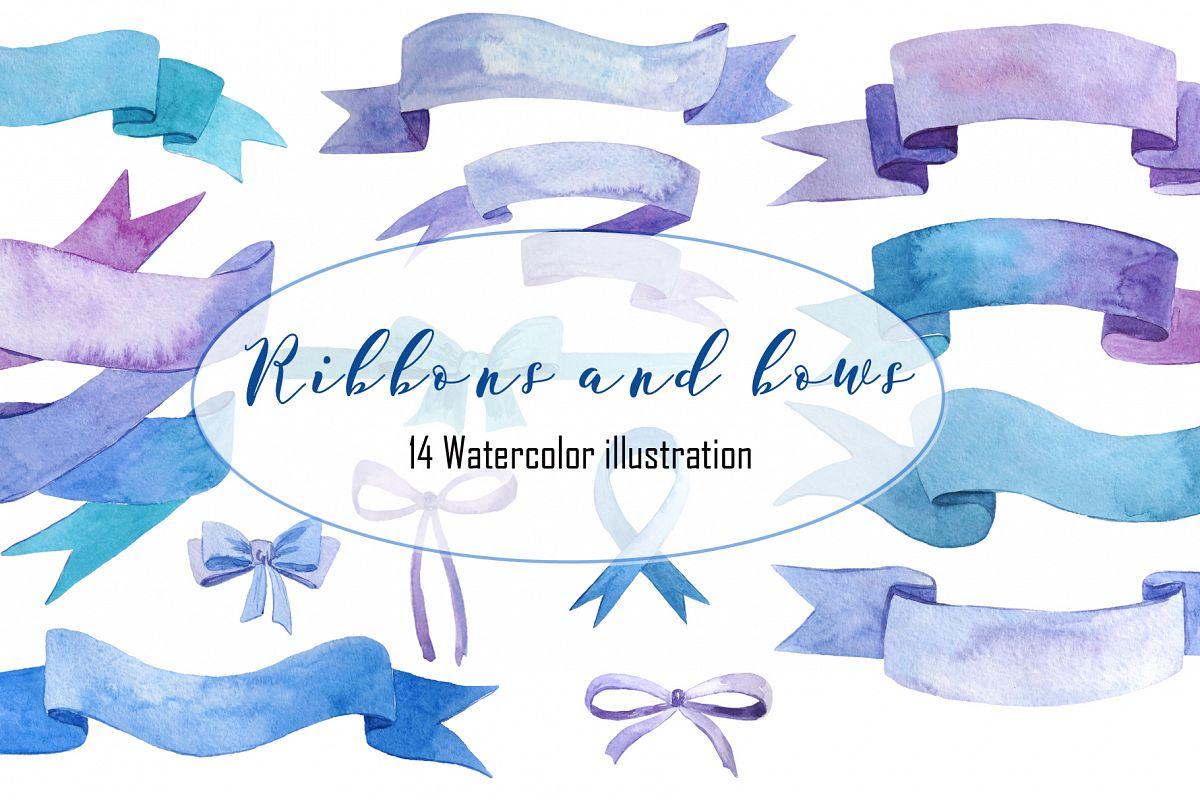 Ribbons and bows watercolor example image 1