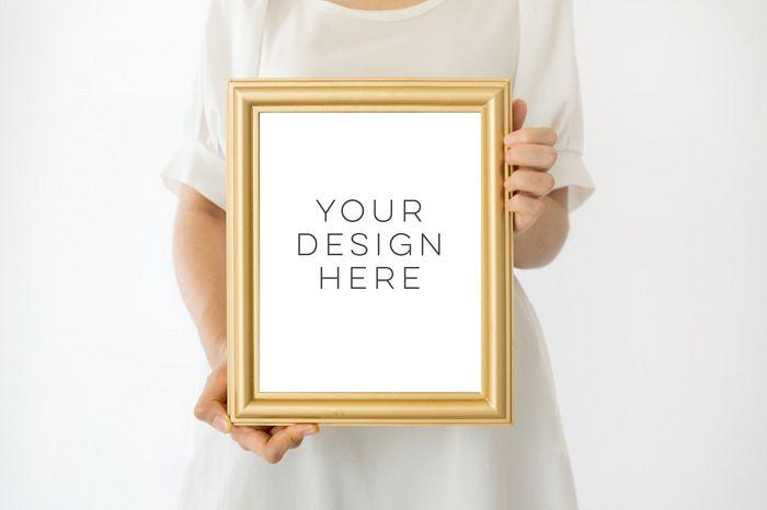Gold Frame Mockup, 8x10 frame mockup, Girl Holding Poster Mockup, Girl Holding Frame Mockup, digital photoshop backgrounds, Gold mock up example image 1