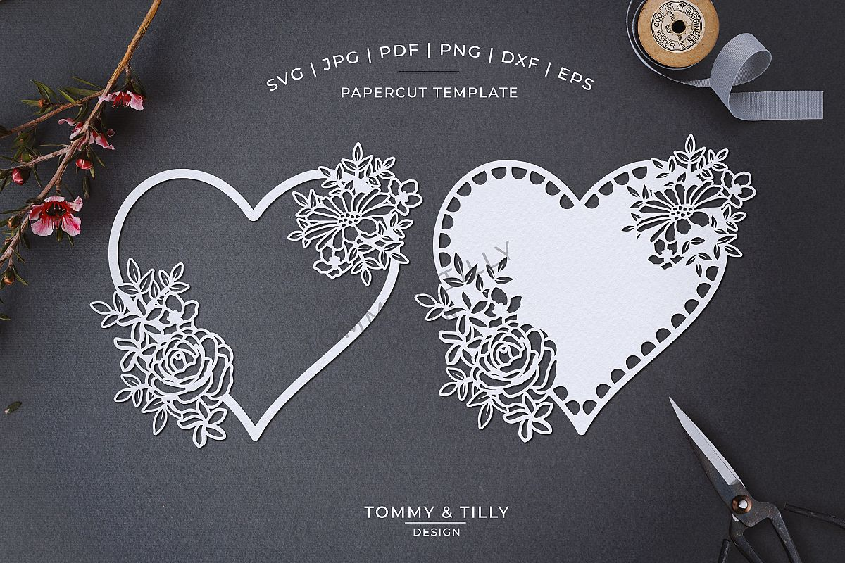Intricate Flower Heart - Papercut SVG EPS DXF PNG PDF JPG example image 1