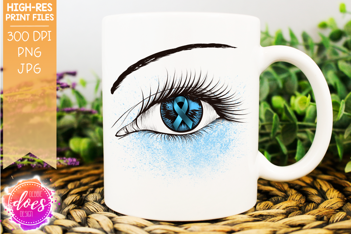 Light Blue Awareness Ribbon Eye - Printable Design example image 1