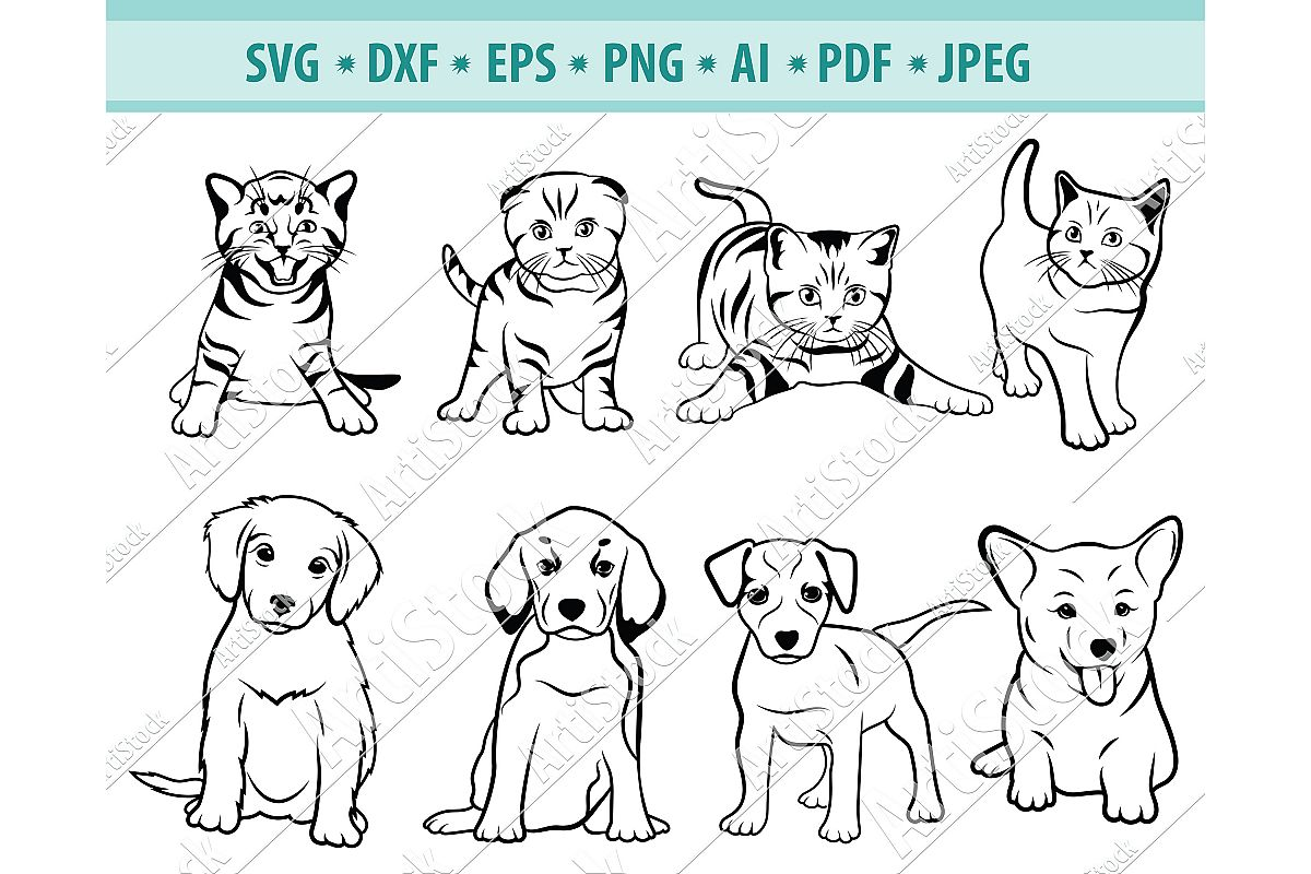 Pets svg, Kitten SVG, Puppy svg, Animals Svg, Dxf, Png, Eps example image 1