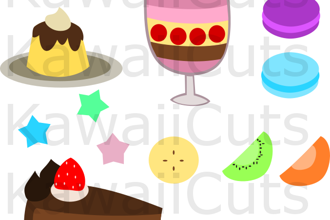 Cute Sweets SVG Cut File for Cricut, clip art, vector, example image 1