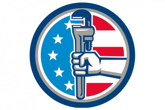 Plumber Hand Pipe Wrench USA Flag Upright Circle Retro example image 1