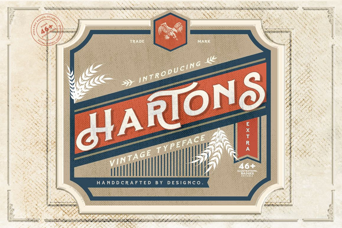 Hartons Vintage Typeface and Extras example image 1