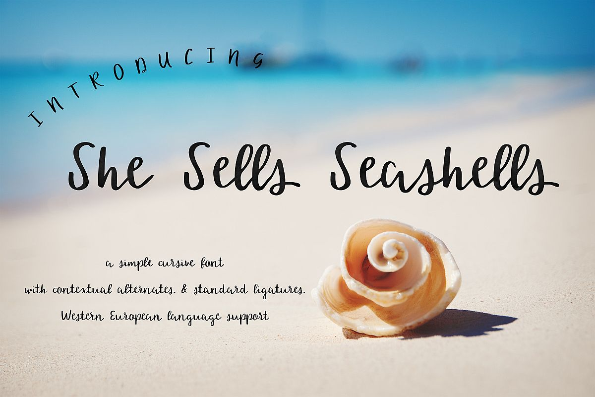 She Sells Seashells Cursive Font example image 1