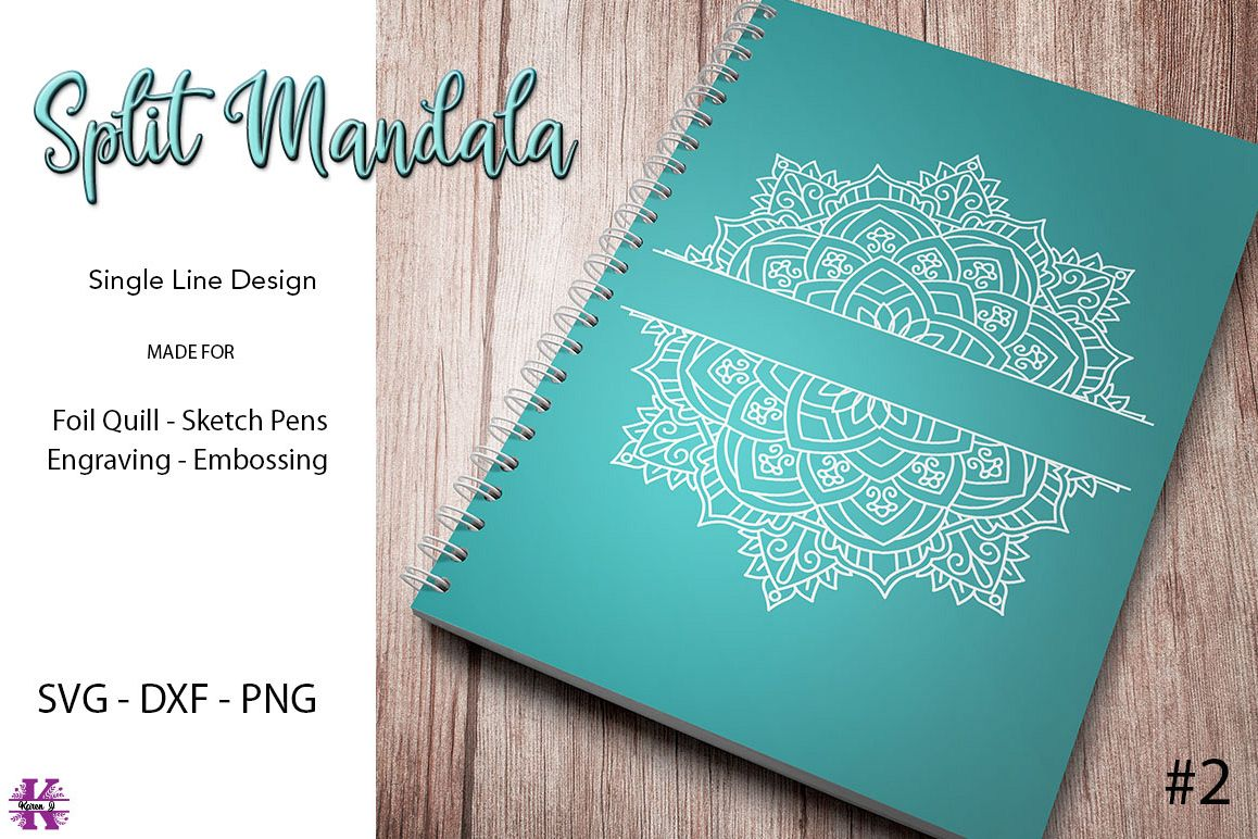 Split Mandala #2 for Foil Quill|Sketch Pen|Engraving example image 1