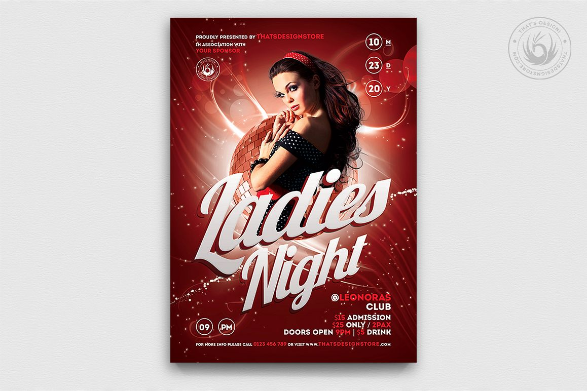 Ladies Night Flyer template V1 example image 1