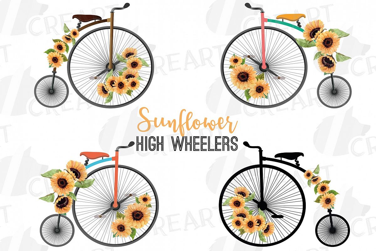 Sunflower bouquets high wheelers clip art. Floral bicycles example image 1