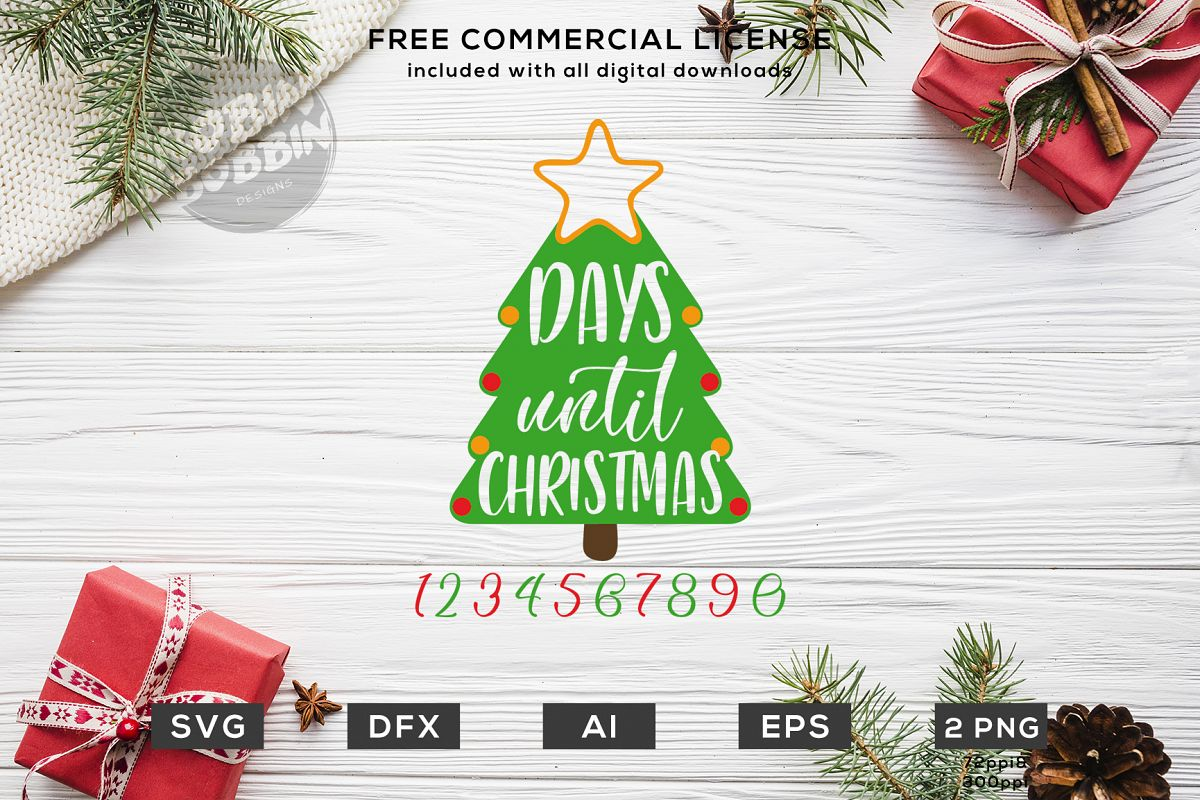 Christmas Countdown - Days Until Christmas Design SVG DXF