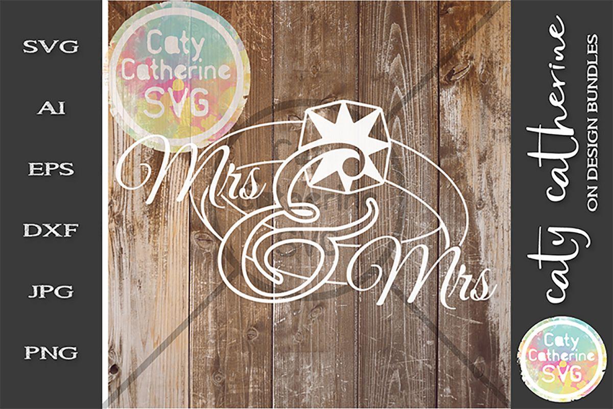 Mr & Mrs Wedding Ring SVG Cut File example image 1