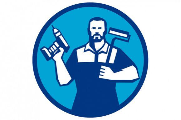 Bearded Handyman Cordless Drill Paintroller Circle Retro example image 1