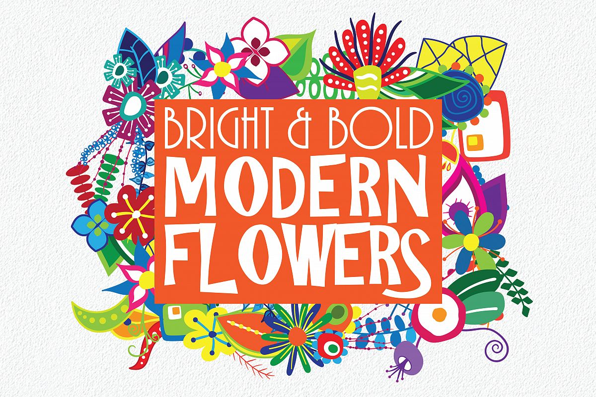 Bright And Bold Modern Flowers 175 Clip Art Elements